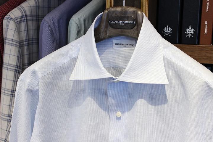 良い感じの麻シャツが出来上がりました!お薦めです!Fabric by SOLBIATI