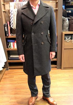 Model:BLACK LABEL DOUBLE ULSTER COAT Fabric:DRAPERS WOOL/CAMEL/CASHMERE
