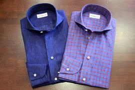 CACCIOPPOLI、CARLO RIVA、DAVID & JOHN ANDERSON、SOLBIATIの生地でオーダーいただいた素敵なシャツ達