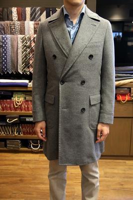 Model:DOUBLE POLO COAT Fabric:COLOMBO 100%Wool