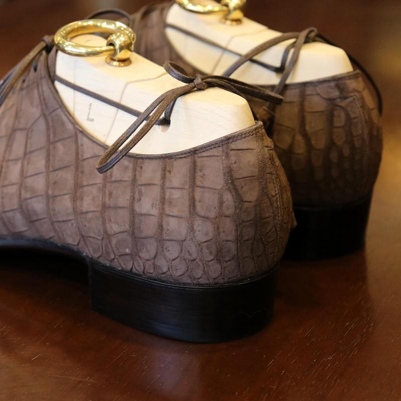BESPOKE SHOES by YUKI SHIRAHAMA BOTTIER Crocodile Nubuck Holecut