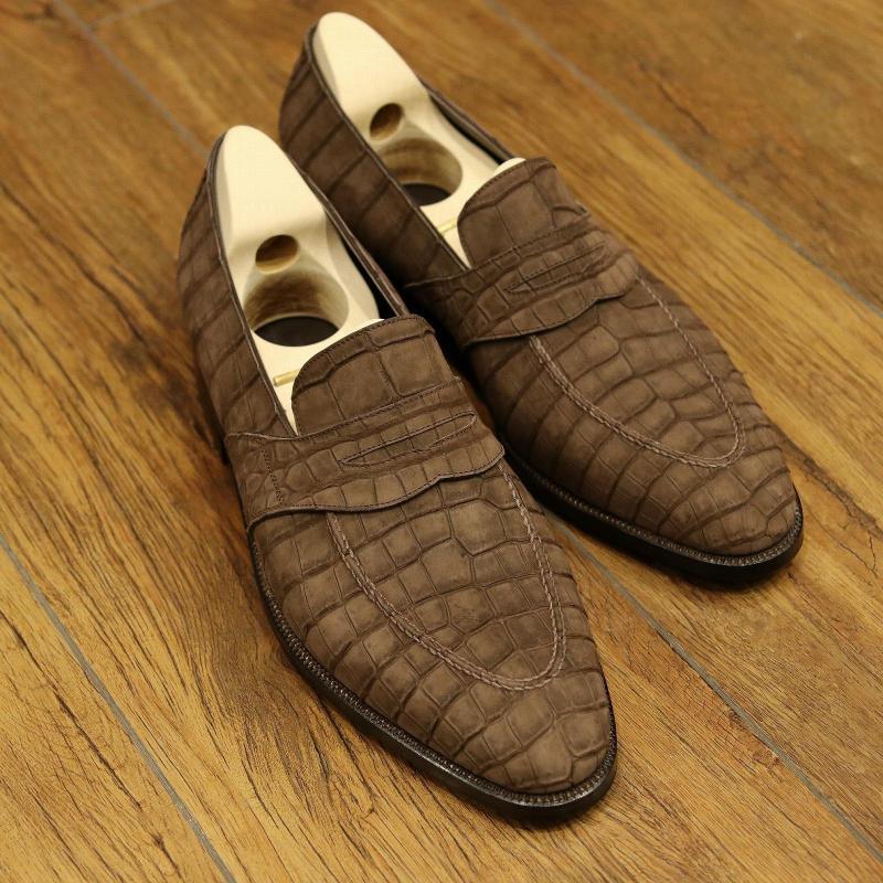 BESPOKE SHOES by YUKI SHIRAHAMA BOTTIER Crocodile Nubuck loafers