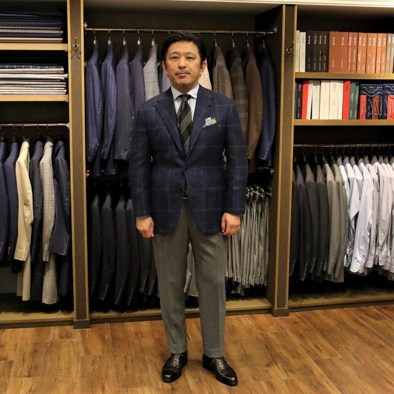 BESPOKE JACKET FABRIC:CACCIOPPOLI Wool,Silk&Linen